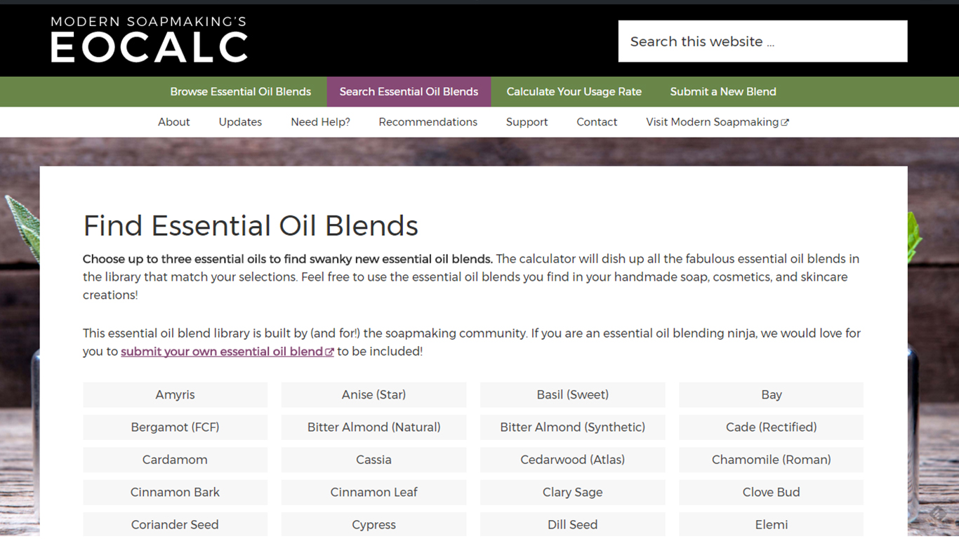 Enter Your Own Blend Essential Oil Calculator